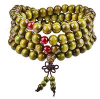 ingrosso il rosario del braccialetto borda il legno di sandalo-Moda Tibet Buddismo 108 * 8mm Rosario di legno Braccialetto di perline Bracciali a più strati Bowknot Bodhi Sandalo Braccialetto di gioielli Braccialetti di fortuna