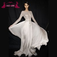 Sexy Silver Long Sleeve Prom Платья Вечерняя вечерняя вечерняя атласная форма Bateau Бисероплетение шифона Backless Court Train Custom Made