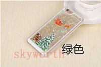 Wholesale Case Iphone Santa Claus - Christmas Theme Santa Claus Liquid Glitter Transparent Clear Hard Plastic cover case For Iphone 5 5S 6 6S Plus