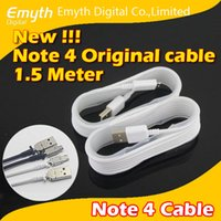 Wholesale Galaxy Metal S4 - Original quality 1.5 meter Note 4 USB cable for Note 4 Galaxy S4 S5 Note 3 1:1 USB cable Siamese-style metal Adapter micro USB cable