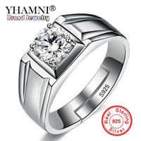 Wholesale Natural Diamond Men Ring - YHAMNI Luxury Men Rings Resizable Natural 925 Sterling Silver Rings Men Wedding Jewelry 1 ct Diamond Cubic Zirconia Ring Mens NJZ001