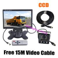 "Wholesale Reversing Camera Cables - 12V-24V 7"" LCD Monitor Bus Truck Van Rear View Kit + 4Pin 18 IR CCD Car Reversing Camera with 15M Cable Waterproof Free Shipping"
