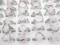Wholesale Pink Stones Jewelry - Wholesale Bulk 10pcs Pink Amethyst Crystal Opal Gemstone stone silver P Rings Jewelry Free