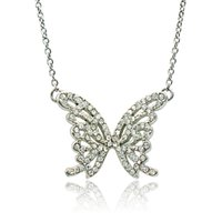 Wholesale Butterfly Acrylic Alloy Rhinestone Necklace - Brand New Fashion Butterfly Pendant Necklace Silver Plated White Rhinestone Necklace For Women Valentine's Gifts Jewelry