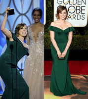Reference Images blooms sleeves - 2016 rd Golden Globe Award Rachel Bloom Formal Celebrity Evening Dresses Emerald Green Mermaid Off Shoulder Sexy Evening Gowns Custom Made