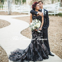 Wholesale Sexy Gothic - Sexy Illusion Bodice Wedding Dresses 2017 Jewel Black Lace Appliques Bridal Gowns Elegant Jewel Sweep Train Gothic Mermaid Wedding Gowns