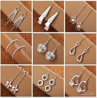 cadeau de choix pour filles achat en gros de-Mélanger le style 925 bijoux en argent Charme femmes / filles Boucles d'oreilles 50 Pairs Choix multiples Boucles d'oreilles ordre de mélange