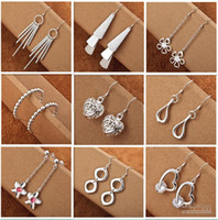 Wholesale Earrings Wholesale Mixed Order Silver - Mix style 925 Silver jewelry Charming women girls Dangle Earrings 50Pairs Multi Choices Earrings mix order Free shipping Best Christmas gift
