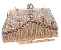 Wholesale Rhinestone Beaded Wristlet - Vintage Wedding Bridal Women Fashion Rhinestone Crystal Bowknot PU Shoulder Bag Silver Evening Clutch Bag Wallet Purse Handbag Wholesale