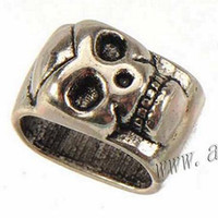 Wholesale Large Hole Metal Charm Beads - jewelry findings skull beads charms spacers fit multilayer bracelets diy vintage silver large hole metal fashion new 13*8mm 100pcs free ship