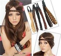 Wholesale Discount Wedding Hair Accessories - Big discount Hair Accessories Elasticity Serratula Weave Wig With Braids Hair Bands Headdress 11 colors