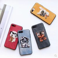 Wholesale Mobile Phone Case Dogs - Cute Embroidery Teddy Pug Husky Dog Pet Cover for Apple iPhone 6 6s plus 5.5 iPhone7 7plus Soft Mobile Phone Case
