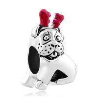 Wholesale Dog Reindeer - Red Enamel Rhodium Silver Color Plating Christmas Puppy Dog Reindeer Horn Bead Charm Fit Pandora Bracelet