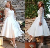 Wholesale Garden Wedding Short - Plus Size Sheer Garden V Neck Wedding Dresses With Long Sleeves 2016 Tulle Stain Ball Gowns Lace Appliques Short Tea Length Bridal Dress