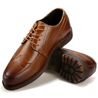 Wholesale Vintage Brogues Mens - Wholesale-Elegant Stylish Vintage Leather Martin Brogues Oxfords Mens Platforms Shoes British Style Hand Sewing Lace Up For Gentlemen New