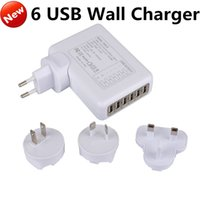 Wholesale multi power port - 6 USB Multi Ports EU US AU UK Plug Travel AC Power Adapter Tablet Cell Phone Wall Charger Universal for iphone 6s 5s Samsung S6 ipad HTC