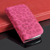 Wholesale S3 Mini Leopard - High Quality Leopard Skin flip leather case For Samsung galaxy S3 MINI i8190 free ship 1pcs lot HLC0089