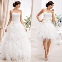 Wholesale Strapless Wedding Dresses Detachable - 2015 Gorgeous Detachable Wedding Dresses A Line Hi Low Bridal Gowns Soft Sweetheart Strapless Brides Wear Ruffled Skirt Custom Made