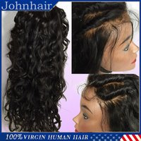 Wholesale Long Half Wig Human Hair - Top quality 8A Water Wave Full Lace Wigs   Lace Front Wigs Baby Hair 100% Brazilian Unprocessed Virgin Human Hair Wig For Black Women