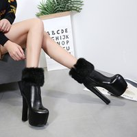 Mode Femmes Cheville Bottes 2018 Sexy Queen 17 CM Mode Chunky Martin Bottes Plate-Forme Bottines Hauts Talons Automne Hiver Night Out Party Boot