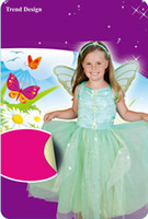 Wholesale Wholesale Green Fairy Wings - childre girls fairy tale glitter green fairy costume with butterfly wing and hairband ballet dance dress fairy tale dress A5401
