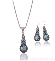 Wholesale Cheap Fashion Accessories Wholesaler China - Fashion Vintage Pattern Blue Crystal Turquoise Pendant Jewelry Sets Earrings Necklace For Party Women Dresses Accessories Cheap 50 Wholesale