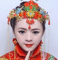 coronas de strass chino al por mayor-Boda nupcial tocados aretes conjunto estilo chino Rhinestone Vintage antigua diadema corona nuevos accesorios para el cabello moda joyería del desfile