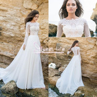 Wholesale Long Sleeved Back Zipper Dress - New Design Beach 2017 A line Wedding Dresses Illusion Long Sleeved Bridal Lace Bodice Chiffon Skirt Jewel neckline chapel train wedding gown