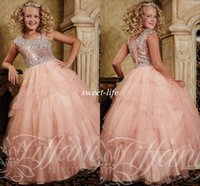 Wholesale Girls Green Pageant Dress Sequins - Crystal Cheap Ball Gown Flower Girls Dresses 2015 Asymmetrical Strap Neckline Sequins Floor Length Lace Up Back Blush Girl's Pageant Dresses