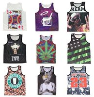 Wholesale Black Tank Top Small - Wholesale- New emoji tank tops print Hemp leaf Playing cards Coffee 2Pac Biggie Smalls 3D basketball vest jersey Free shipping