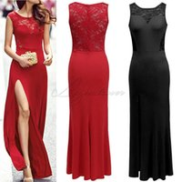 Wholesale Evening Dresses Black Nude Sexy - Elegant Cheap Evening Dresses Red And Black Lace Floor Length Sexy Trumpet Evening Gowns High Quality Special Occasion Dresses 2016 New