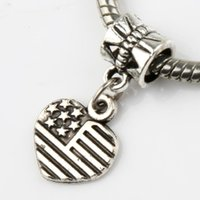 Wholesale Usa Bead Charm - Made in USA Star Heart Big Hole Beads 100pcs lot 11.8x24mm Antique Silver Fit European Charm Bracelets Jewelry DIY B909