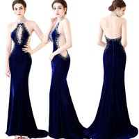 Wholesale Sexy Dress Open Breast - 2018 Sexy Royal Blue Mermaid Evening Dresses High Neck Beaded Sequined Backless Open Breast Velvet Prom Party Gowns For Women