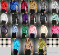 Wholesale Casual Wedding Shirts - Wholesale-Wholesale New Arrival 21 Colors Elastic Silk like Satin Men Wedding Shirt Groom Shirts Wear Bridegroom Slik Shirt For Men