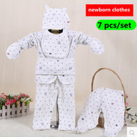 Wholesale Shop Newborn Clothes - 7pcs set 0-3Months Newborn Clothing Set 100% Cotton Dot Underwear Set Newborn Baby Gift Set Unisex Baby Clothing Shop Online