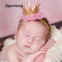 Wholesale Cute Lace Headbands - Wholesale- Elastic Flower Crown Headwear hair accessories baby headband cute hair band newborn floral headband WJul27