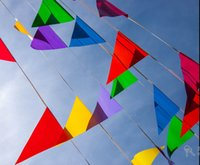 Wholesale Wholesale Fabric Bunting - 120 flags,60 M flags and banners Fabric Bunting Triangle flag,Giant Colourful Multi Colour Bunting Wedding Party Banner Blue green pink