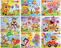 Grossiste-F102 20 Designs 260mmx210mm 3D Autocollants Puzzle EVA Handmade Cartoon Cartes Artisanat Early Educational Toys Cadeau de Noël Bricolage