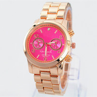 Wholesale Dial Clocks - NEW Fashion luxury women watch pink dial blue dial steel brand wristwatch Quartz Girl Japan Movement Wristwatch Clock