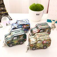 Wholesale Car Money Boxes - Cartoon Metal Piggy Bank Car Shape Tinplate Money Box With Lock Coin Saving Boxes For Home Decor 2 7xk B
