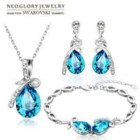 Wholesale Set Crystal Earring Neoglory - Neoglory Austria Crystal & Rhinestone Jewelry Set Water Drop Design Stylish Necklace & Earrings & Bracelet Trendy Lady Gift