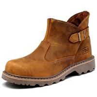 mens tobillo botas correas al por mayor-Tamaño de EE. UU. Hight Quality Mens cuero genuino Silp en botines militares hebilla correa Oxford Chukkas zapatos de trabajo de invierno
