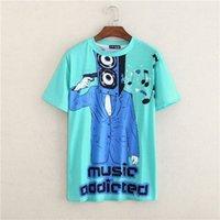 Wholesale Shirt Men Music - Summer Personalized Brand Letter Print gun T Shirts Short Sleeve Music addicted T-shirt Man Top Tee Shirt masculinas FG1510