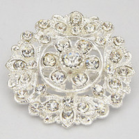 Wholesale Invitation Design Flowers - 2015 New Design Pretty Silver Tone Flower Alloy Pin Brooches Wedding Bridal Bouquet Diamante Brooch B912 Hot Selling Invitation Card Pins