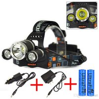 Wholesale 3x Xml T6 - 5000LM JR-3000 3X CREE XML T6 LED Headlamp Headlight 4 Mode Head Lamp + 2x18650 Battery + AC Charger for bicycle bike light outdoor sport