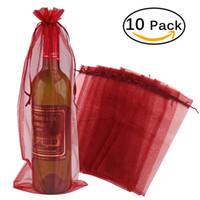 sacos de presente de garrafa de vinho organza venda por atacado-10 pcs Pura Organza Wine Bottle Wrap Capa Do Presente Sacos De Casamento Em Casa Decoração Do Partido Artesanato Pacote Festivo Suprimentos
