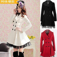 Wholesale Ladies Long Red Dress Coats - New Fashion Women lady Slim Wool Blend winter Coat Girls White Double-Breasted Woolen Coats Slim Lace Long Dress Outwear plus size Free Ship