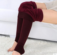 Wholesale Ladies Under Pants - winter Faux Velvet Add cashmere fall winter thick leggings wearing leggings under ladies high waist pants feet pants trousers winter foot