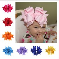 Wholesale Crochet For Hair Bows - Big Bow Headband For Newborn Infant Hair Clips Girls Baby Hair Accessories Kids Crochet Headbands Baby Photography Props 12 Color A11D90
