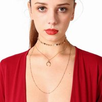Hot Sales Popular Multilayer Chain Necklace lua Pingentes Choker Gold / Silver Color Womens Chocker Necklace atacado